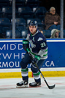 KELOWNA, BC - JANUARY 30: Matthew Wedman #21 of the Seattle Thunderbirds warms up against the Kelowna Rockets at Prospera Place on January 30, 2019 in Kelowna, Canada. (Photo by Marissa Baecker/Getty Images)