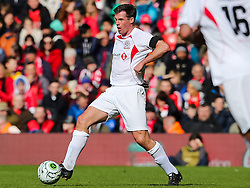 Jamie Carragher in action - Photo mandatory by-line: Matt McNulty/JMP - Mobile: 07966 386802 - 29/03/2015 - SPORT - Football - Liverpool - Anfield Stadium - Gerrard's Squad v Carragher's Squad - Liverpool FC All stars Game