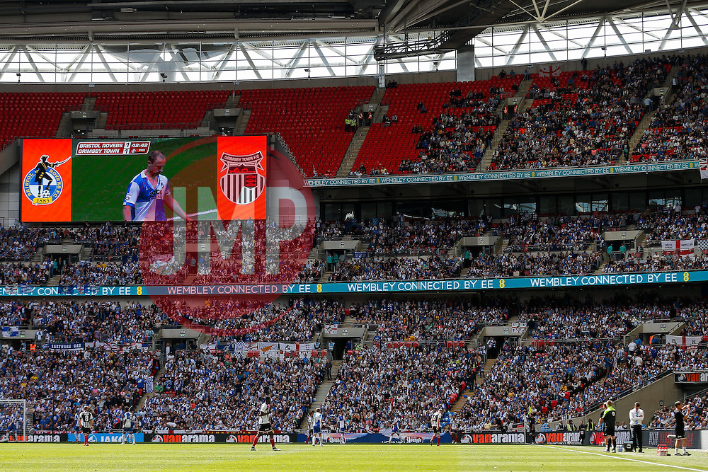 Bristol Rovers fans in the stands - Photo mandatory by-line: Rogan Thomson/JMP - 07966 386802 - 17/05/2015 - SPORT - FOOTBALL - London, England - Wembley Stadium - Bristol Rovers v Frimsby Town - Vanarama Conference Premier Play-off Final.