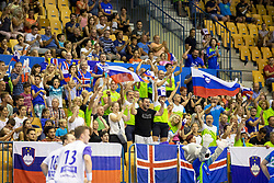Supporters of Slovenia during handball match between National teams of Slovenia and Iceland in Main Round of 2018 EHF U20 Men's European Championship, on July 25, 2018 in Arena Zlatorog, Celje, Slovenia. Photo by Urban Urbanc / Sportida