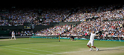 LONDON, ENGLAND - Friday, July 1, 2011: Rafael Nadal (ESP) serves during the Gentlemen's Singles Semi-Final match on day eleven of the Wimbledon Lawn Tennis Championships at the All England Lawn Tennis and Croquet Club. (Pic by David Rawcliffe/Propaganda)