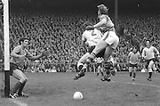 Dublin goalkeeper Paddy Cullen guarding the goal as Kerry attacks during the All Ireland Senior Gaelic Football Final Dublin v Kerry in Croke Park on the 26th September 1976. Dublin 3-08 Kerry 0-10.