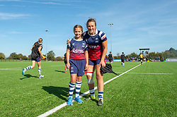 Clara Nielson of Bristol Bears Women poses with a mascot - Mandatory by-line: Paul Knight/JMP - 29/09/2018 - RUGBY - Shaftesbury Park - Bristol, England - Bristol Bears Women v DMP Sharks - Tyrrells Premier 15s
