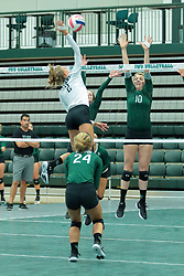 26 August 2017:  Kyleigh Block & Claire Bergman during the green-white scrimmage of the Illinois Wesleyan Titans in Shirk Center, Bloomington IL