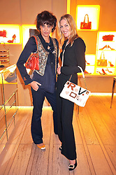 Left to right, INES DE LA FRESSANGE nd PRICILLA WATERS at a reception in aid of Children in Crisis held at the Roger Vivier store, 188 Sloane Street, London on 19th March 2009.