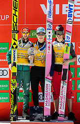 Second placed Markus Eisenbichler (GER), winner Ryoyu Kobayashi (JPN) and third placed Piotr Zyla (POL) celebrate at trophy ceremony in FIS Ski Flying 2018/19 Classification after the Ski Flying Hill Individual Competition at Day 4 of FIS Ski Jumping World Cup Final 2019, on March 24, 2019 in Planica, Slovenia. Photo by Vid Ponikvar / Sportida