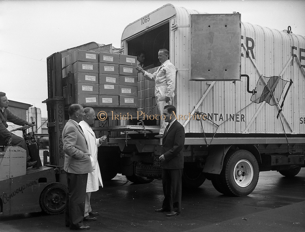 05/09/1961<br /> 09/05/1961<br /> 05 September 1961<br /> Special for Urney Chocolates Belgard Road, Tallaght, Dublin and Coras Trachtala . Forklift loading  chocolates for export onto truck  at the Irish Urney factory. Mr T Headon in white coat supervising the loading.