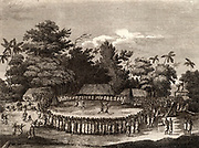 The Reception of Captain Cook in Hapaee'. Ceremonial reception of James Cook (1728-1779) British navigator, explorer and cartographer on his visit to the Friendly Islands (Tonga) on his second voyage in 1773.   Engraving from 'Captain Cook's Original Voyages Round the World' (Woodbridge, Suffolk, c1815).