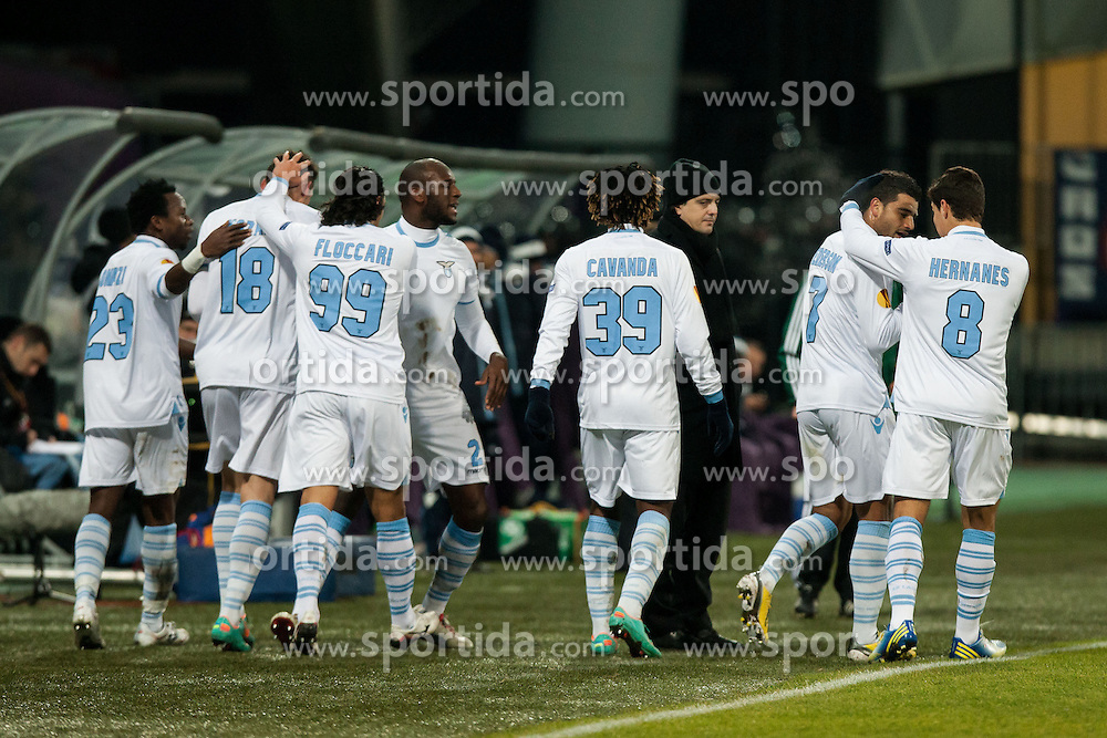 Players of S.S. Lazio Roma celebrate scoring a goal during football match between NK Maribor and S. S. Lazio Roma  (ITA) in 6th Round of Group Stage of UEFA Europa league 2013, on December 6, 2012 in Stadium Ljudski vrt, Maribor, Slovenia. (Photo By Gregor Krajncic / Sportida)