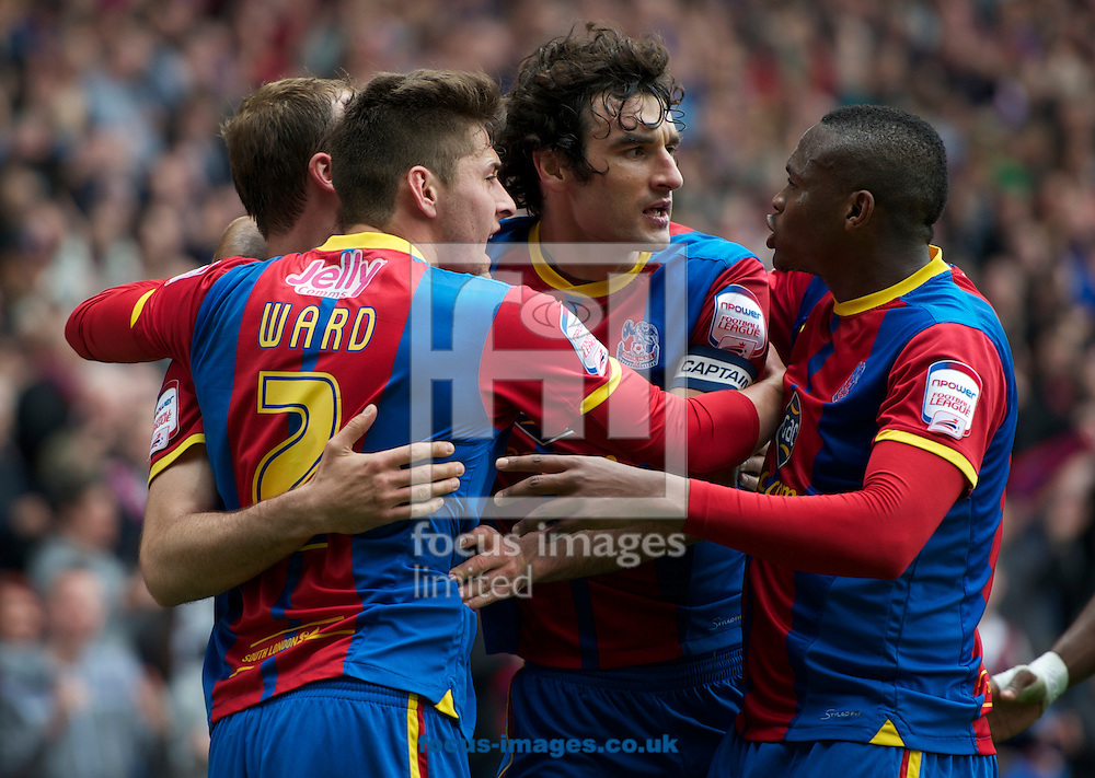 Picture by Alan Stanford/Focus Images Ltd +44 7915 056117.04/05/2013. Crystal Palace players celebrate their equaliser during the npower Championship match at Selhurst Park, London...