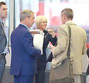 Andrew Marr Show arrivals <br /> at BBC Broadcasting House, London, Great Britain <br /> 18th September 2016 <br /> <br /> <br /> <br /> Nigel Farage MEP <br /> ex-leader of UKIP <br /> <br /> Jane Moore - columnist for the Sun <br /> <br /> <br /> <br /> Photograph by Elliott Franks <br /> Image licensed to Elliott Franks Photography Services