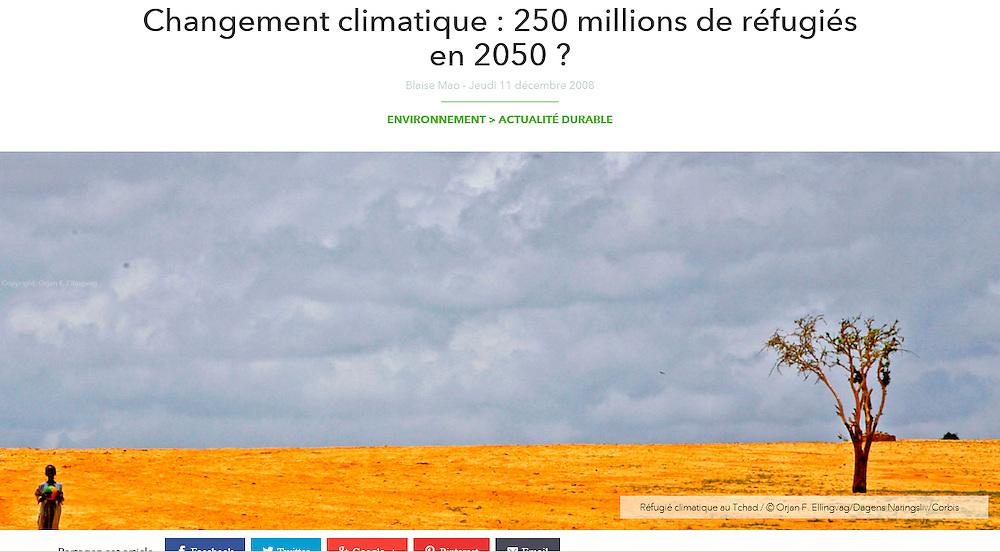 GEO December 2008.                       http://www.geo.fr/environnement/actualite-durable/changement-climatique-250-millions-de-refugies-en-2050-21626
