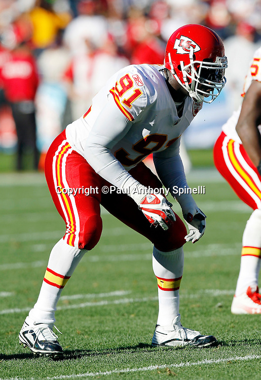 Kansas City Chiefs linebacker Tamba Hali (91) gets set during the NFL week 14 football game against the San Diego Chargers on Sunday, December 12, 2010 in San Diego, California. The Chargers won the game 31-0. (©Paul Anthony Spinelli)