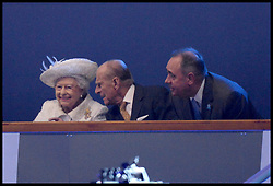 Image licensed to i-Images Picture Agency. 23/07/2014. Glasgow, United Kingdom. The Queen with The Duke of Edinburgh  and Alex Salmond during the opening ceremony of  the Commonwealth Games in Glasgow.. Picture by Andrew Parsons / i-Images