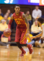 Iowa State Cyclones guard Monte Morris looks up the floor against the West Virginia Mountaineers during the second half at the WVU Coliseum.