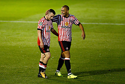 George Honeyman of Sunderland celebrates with James Vaughan after scoring his sides first goal  - Mandatory by-line: Matt McNulty/JMP - 10/08/2017 - FOOTBALL - Gigg Lane - Bury, England - Bury v Sunderland - Carabao Cup - First Round