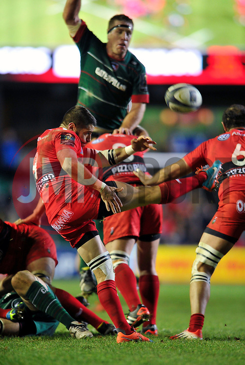 Sebastien Tillous-Borde of Toulon box-kicks the ball - Photo mandatory by-line: Patrick Khachfe/JMP - Mobile: 07966 386802 07/12/2014 - SPORT - RUGBY UNION - Leicester - Welford Road - Leicester Tigers v Toulon - European Rugby Champions Cup