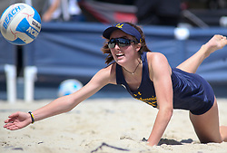 April 7, 2018 - Tucson, AZ, U.S. - TUCSON, AZ - APRIL 07: California Golden Bears Maddie Micheletti (33) dives to hit the ball during a college beach volleyball match between the California Golden Bears and the Arizona Wildcats on April 07, 2018, at Bear Down Beach in Tucson, AZ. Arizona defeated California 3-2. (Photo by Jacob Snow/Icon Sportswire (Credit Image: © Jacob Snow/Icon SMI via ZUMA Press)