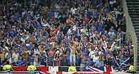 Photo: Paul Thomas.<br />Lyon v Rangers. UEFA Champions League, Group E. 02/10/2007.<br /><br />Rangers fans enjoy the three nil lead.