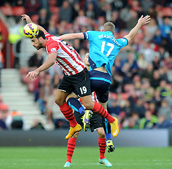 Southampton's Graziano Pelle challenges for the ball with Stoke's Ryan Shawcross - Photo mandatory by-line: Dougie Allward/JMP - Mobile: 07966 386802 - 25/10/2014 - SPORT - Football - Southampton - ST Mary's Stadium - Southampton v Stoke - Barclays Premier League
