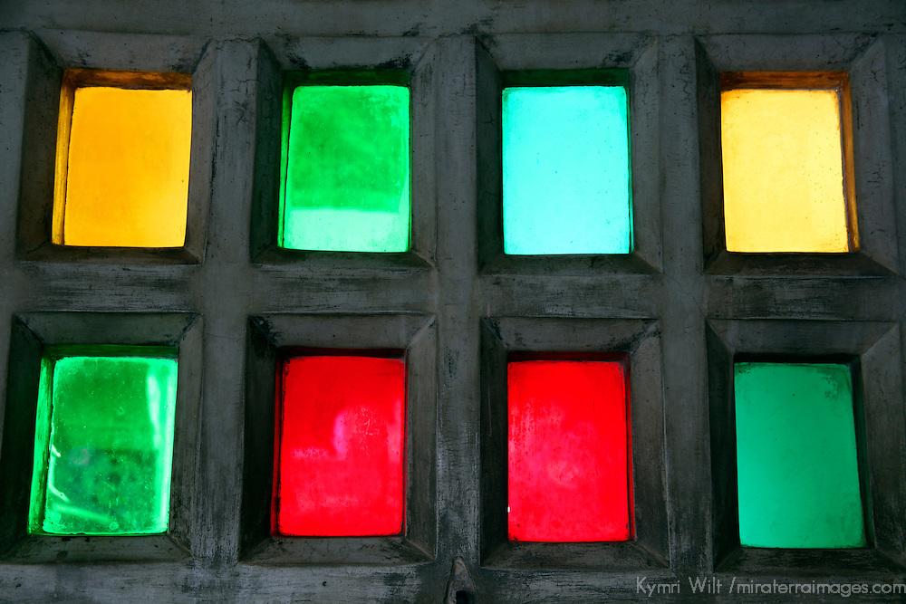 Asia, India, Udaipur. Colored Glass Windows of Udaipur City Palace