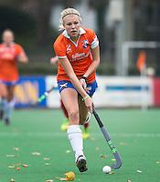 BLOEMENDAAL - Roos Broek van Bloemendaal tijdens de hoofdklasse competitiewedstrijd tussen de vrouwen van Bloemendaal en Wageningen (4-0). COPYRIGHT KOEN SUYK
