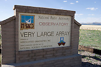 Sign for the Very Large Array of the National Radio Astronomy Observatory, New Mexico.
