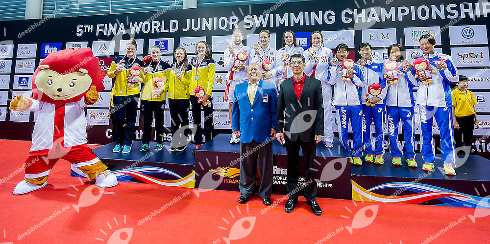 Russian Federation<br /> Russian Federation RUS Medal and New Junior World Record<br /> Team Australia AUS Silver Medal<br /> Team Japan JPN Bronze Medal<br /> 4X100 Medley Relay Women Final <br /> Day06 30/08/2015 - OCBC Aquatic Center<br /> V FINA World Junior Swimming Championships<br /> Singapore SIN  Aug. 25-30 2015 <br /> Photo A.Masini/Deepbluemedia/Insidefoto
