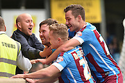Scott Laird of Scunthorpe United celebrates scoring to go 1 all during the Sky Bet League 1 match between Scunthorpe United and Shrewsbury Town at Glanford Park, Scunthorpe, England on 17 October 2015. Photo by Ian Lyall.