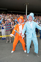 04/08/2013 Ger O Riordan and Kevin Wallace from Cork City Celebrating Busted Tycoon's third win of the Week  a record <br /> on the last day of the  Galway Races. Picture:Andrew Downes