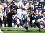CHICAGO - OCTOBER 16:  Rookie wide receiver Mark Bradley #16 of the Chicago Bears gains yardage after a catch against the Minnesota Vikings at Soldier Field on October 16, 2005 in Chicago, Illinois. The Bears defeated the Vikings 28-3. ©Paul Anthony Spinelli *** Local Caption *** Mark Bradley