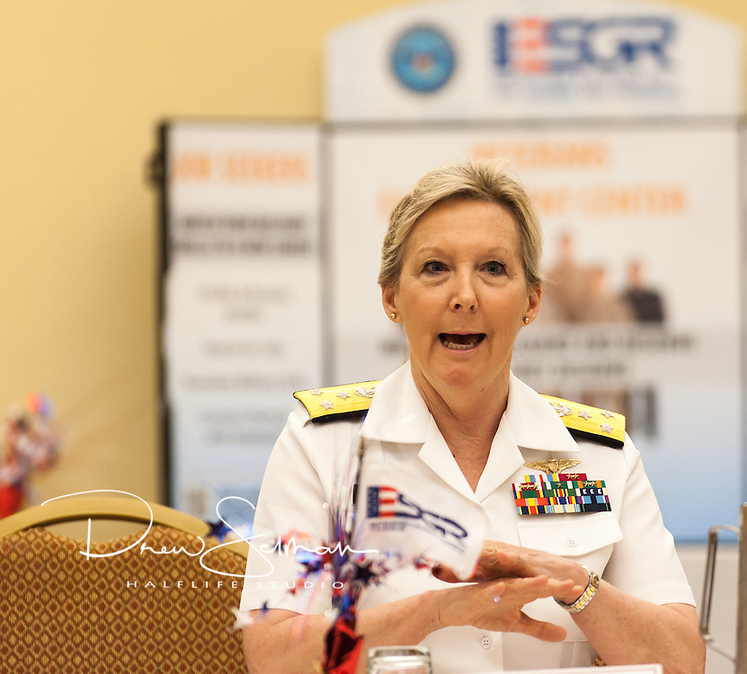 ST. LOUIS, 05 JUNE 2015 – Vice Adm. Robin Braun, Chief of Navy Reserve, Maj. Gen. Stephen Danner, Adjutant General, Missouri National Guard, Rear Adm. (Ret.) Lee Metcalf, State Chair ESGR, Daugherty Business Systems meet with influential regional employers at the ESGR Annual Planning and Awards Meeting.  Attendees expressed their ability and willingness to hire Guard and Reserve employees, the challenges that they as employers are faced during deployments and how the Guard and Reserve can improve their overall interaction with employers.