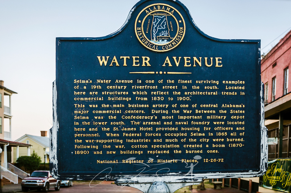 A historic marker from the Alabama Historical Commission is located on Water Avenue, Feb. 14, 2015, in Selma, Alabama. The street was once a main business area in the city and reflects a wide variety of architectural styles from the 1830's to the 1890's. (Photo by Carmen K. Sisson/Cloudybright)