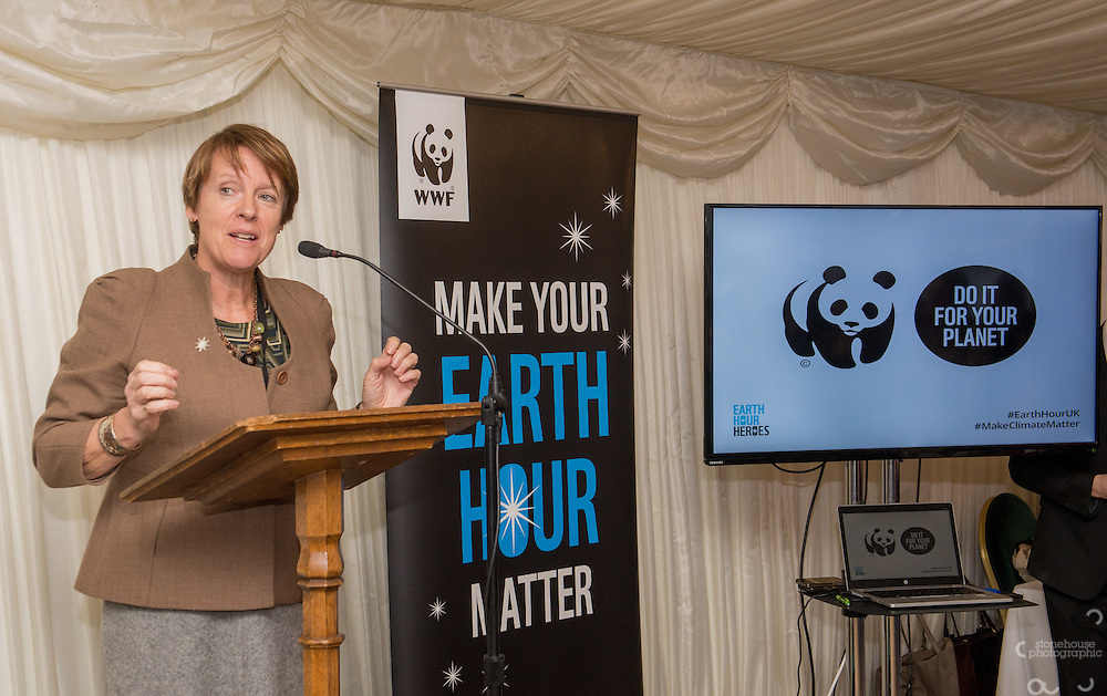 Dame Caroline Spelman MP speaking at WWF UK Earth Hour 10th Anniversary Parliamentary Reception, Terrace Pavilion, Palace of Westminster. 28th Feb. 2017