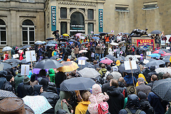 © Licensed to London News Pictures. 02/07/2016. Leeds, UK. Hundreds of people braved the rain in Leeds city centre, West Yorkshire, to support Labour leader Jeremy Corbyn. Corbyn, who was only elected nine months ago with an overwhelming majority, faced a vote of no confidence this week from his MPs. It is now likely that the Labour Party will see another leadership election. Photo credit : Ian Hinchliffe/LNP