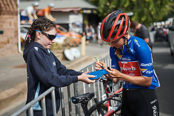 Leah Kirchmann (CAN) signs an autograph before Stage 3 of 2020 Santos Women's Tour Down Under, a 109.1 km road race from Nairne to Stirling, Australia on January 18, 2020. Photo by Sean Robinson/velofocus.com