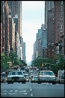 New York street view with cars and taxis.