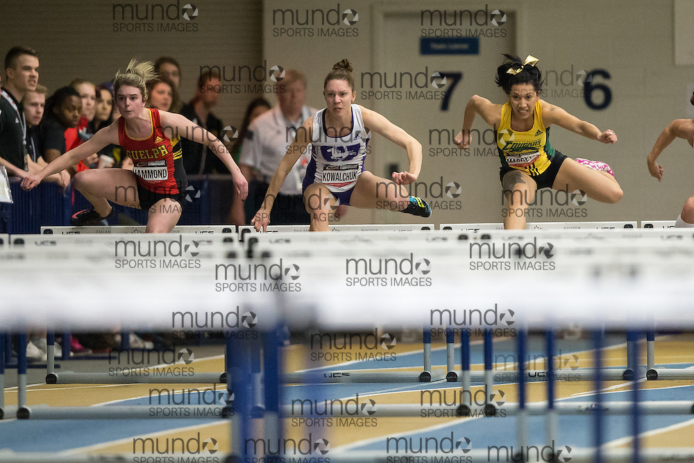 Windsor, Ontario ---2015-03-13--- Shaylyn Kowalchuk of Western competes in the 60m hurdles at the 2015 CIS Track and Field Championships in Windsor, Ontario, March 13, 2015.<br /> GEOFF ROBINS/ Mundo Sport Images