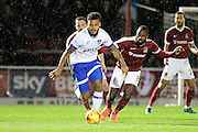 Oldham Athletic striker Aaron Holloway (10) looks to release the ball during the EFL Sky Bet League 1 match between Northampton Town and Oldham Athletic at Sixfields Stadium, Northampton, England on 28 February 2017. Photo by Dennis Goodwin.