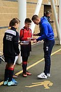 Shrewsbury Town Players sign autographs during the EFL Sky Bet League 1 match between Shrewsbury Town and Scunthorpe United at Greenhous Meadow, Shrewsbury, England on 30 September 2017. Photo by Mick Haynes.