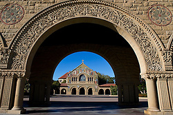 Memorial Church, viewed through an arch on the main quad, Stanford University, Stanford, California, United States of America