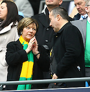 Picture by Paul Chesterton/Focus Images Ltd.  07904 640267.03/12/11.Norwich City's Joint Majority Shareholder Delia Smith and Norwich Chief Executive David McNally before the Barclays Premier League match at the Etihad Stadium, Manchester.