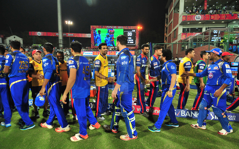 Mumbai Indians Mentor Sachin Tendulkar shake hand players after match 21 of the Pepsi IPL 2015 (Indian Premier League) between The Delhi Daredevils and The Mumbai Indians held at the Ferozeshah Kotla stadium in Delhi, India on the 23rd April 2015.<br /> <br /> Photo by:  Arjun Panwar / SPORTZPICS / IPL