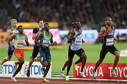 London, August 08 2017 . Mohammed Aman, Ethiopia, Thiago Andrè, Brazil, Nijel Amos, Botswana, and Brandon McBride, Canada, complete the first lap of the men's 800m final on day five of the IAAF London 2017 world Championships at the London Stadium. © Paul Davey.