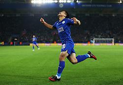 Shinji Okazaki of Leicester City celebrates after scoring his sides first goal  - Mandatory by-line: Matt McNulty/JMP - 22/11/2016 - FOOTBALL - King Power Stadium - Leicester, England - Leicester City v Club Brugge - UEFA Champions League