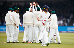 England's Mark Stoneman walks off dejected after getting out for 4 to Pakistan's Mohammad Abbas during day one of the First NatWest Test Series match at Lord's, London.