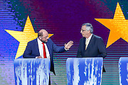 Martin SCHULZ for the Party of European Socialists and Jean-Claude JUNCKER for the European People's Party participate in the EE2014 - Eurovision debate between candidates for the Presidency of the European<br /> Commission