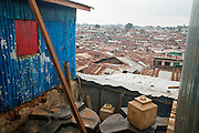 Nairobi, June 2010 -  overviews of Kibera slum from the second level of the Siloam Fellowship ministry Academy.