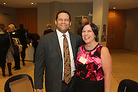 The Hyde Park Chamber of Commerce held its 75th Annual Chamber Dinner this past Thursday. The event was held at Rodfei Zedek located at 5200 S. Harper.<br /> <br /> 8805 - Dante Mosely of Hyde Park Bank and Marianne Bagnola of Bank Financial