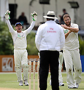 Brendon McCullum and Daniel Vettori appeal against the umpire Ameish Saheba's decision and call for the 3rd umpire.<br />New Zealand v West Indies, First Test Match, National Bank Test Series, University Oval, Dunedin, Sunday 14 December 2008. Photo: Andrew Cornaga/PHOTOSPORT